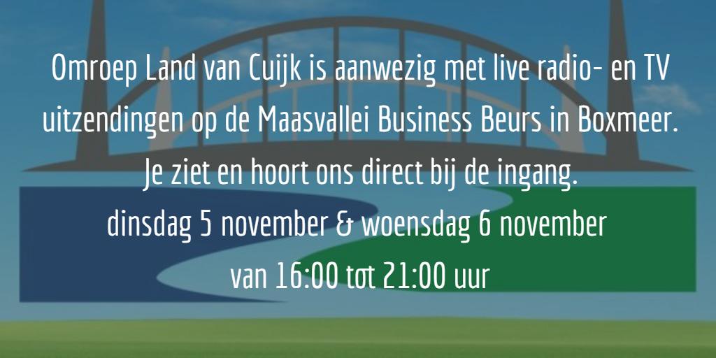 Kom radio kijken bij de Maasvallei Business Beurs